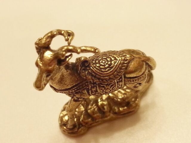 Brass Lucky DEER FIGURINE Miniature Vintage Collect Animal