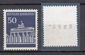 BRD-1966-Mi-Nr-509-v-R-Postfrisch-Rollmarke-mit-Nr-TOP-20589