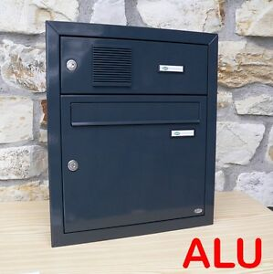 briefkasten alu ral 7016 grau klingel unterputz wandeinbau fach f r sprechanlage ebay. Black Bedroom Furniture Sets. Home Design Ideas
