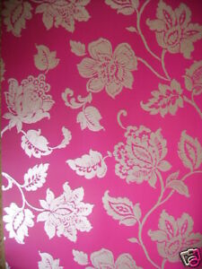bromley fuschia pink gold feature wallpaper ebay