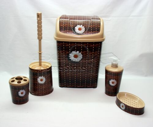Brown Bathroom Accessories Sets : Brown pc bathroom accessory set tumbler toilet brush
