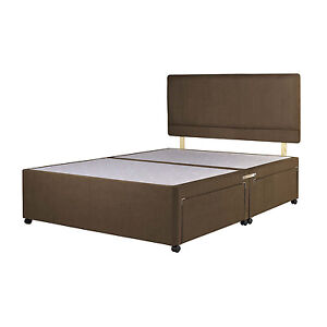 Brown suede divan bed base double 4ft small single 3ft for Super king size divan bed with storage
