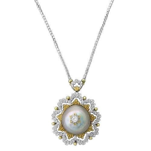 buccellati 18k yellow white gold pearl pendant