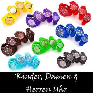 BUNTE-SILIKON-UHR-KINDER-DAMEN-HERREN-WATCH-ORIGINAL-TREND-HOT-SZ-ARMBANDUHR