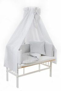 baby beistellbett weiss wiege babybett 3in1 komplett himmel nestchen dots inlett ebay. Black Bedroom Furniture Sets. Home Design Ideas