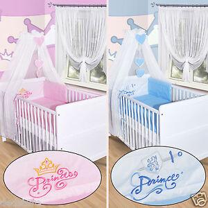 Baby-Bettwaesche-Himmel-Nestchen-Bettset-mit-Stickerei-100x135-Neu-Prinz-Princess