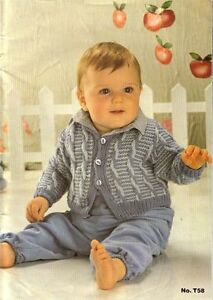 Details about Baby Boy Cabled Jacket knitting pattern 4 ply or DK 18