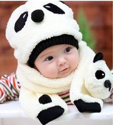 Baby Boy & Girl & Toddler Soft PLUSH Bear Panda hats + scarf kids warm cap in Baby, Other | eBay