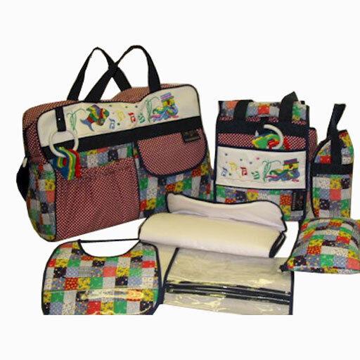 baby boy girl unisex 7 pcs polka dot diaper bag set lg sm bags 2 key rattles ebay. Black Bedroom Furniture Sets. Home Design Ideas