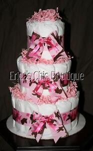 details about baby girl pink camouflage camo diaper cake shower gift