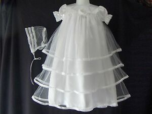 Baby girl satin tulle christening gown baptism dress 0 3 3 for Making baptism dress from wedding gown