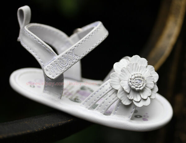 Baby Girl White Daisy Sandals Dress Crib Walking Shoes Size 3 6 6 9 9 12 Months