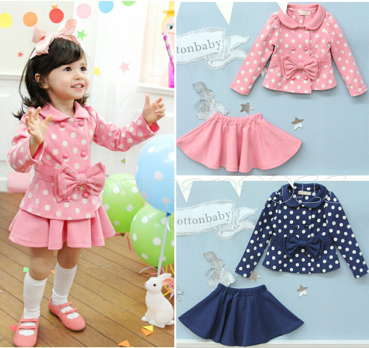 Baby Girl's Bow Dot Top Dress Set Coat Skirt Clothing Wear Outfit Age 2 6 Years