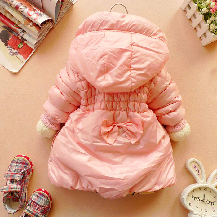 Baby Girls Clothes Winter Coat Kids Pink Red Warm Hoody Jacket Gown 2 6Y