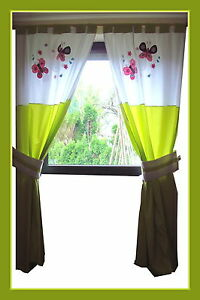 baby kinderzimmer schlaufen gardine vorhang schmetterlinge bestickt gr n 4t ebay. Black Bedroom Furniture Sets. Home Design Ideas