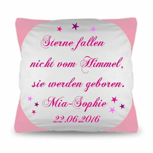 baby kissen mit spruch namen und geburtstatum namenkissen. Black Bedroom Furniture Sets. Home Design Ideas