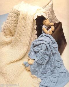 Baby Leaf Pattern Pram Blanket & Shawl Knitting Pattern in 4ply wool