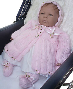 Baby Matinee Coat, Hat & Bootees Reborn Doll Knitting Pattern #0901