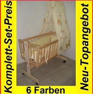 Babywiege-Komplett-Stubenwagen-Massivholz-Himmel-Matratze-Kissen-Decke-NEU