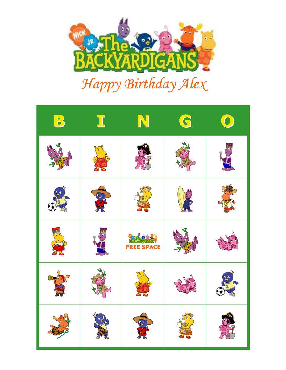 Backyardigans Nick Jr Personalized Birthday Party Game Bingo Cards
