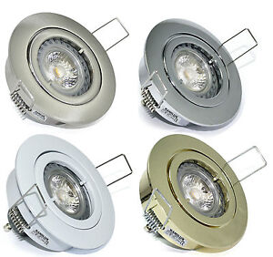 bad einbau strahler decke 230v hochvolt downlight gu10 fassung led halogen ebay. Black Bedroom Furniture Sets. Home Design Ideas