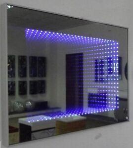 badezimmerspiegel spiegel led beleuchtung 3d effekt tieffeneffekt blau 80 x 60 ebay. Black Bedroom Furniture Sets. Home Design Ideas