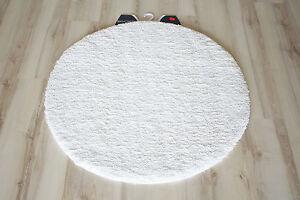 badteppich badematte uni wei 100cm rund weich ebay. Black Bedroom Furniture Sets. Home Design Ideas