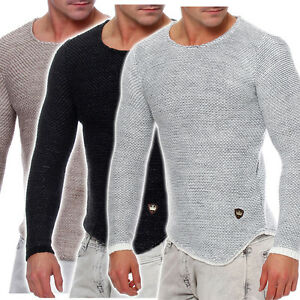 balandi herren oversize pullover sweatshirt knit asymetrisch round neck pulli ebay. Black Bedroom Furniture Sets. Home Design Ideas