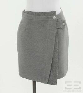 Balenciaga-Grey-Wool-Wrap-A-Line-Skirt-Size-38
