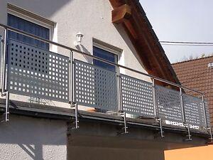 balkongel nder edelstahl mit alu lochblech balkon gel nder ebay. Black Bedroom Furniture Sets. Home Design Ideas