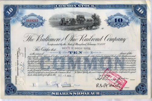 Baltimore & Ohio B&O Railroad Company Stock Certificate CSX in Coins & Paper Money, Stocks & Bonds, Scripophily, Transportation | eBay