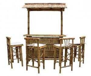 bambus bar theke cocktailbar mit 4 barhocker 60 160 236cm dunkle ebay. Black Bedroom Furniture Sets. Home Design Ideas