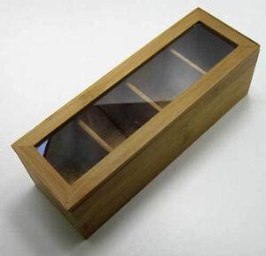bambus teek stchen mit 4 f chern tee k stchen teebeutel kasten box aufbewahrung ebay. Black Bedroom Furniture Sets. Home Design Ideas