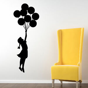 Bansky ballon fliegendes m dchen wand sticker tattoo aufkleber deko kunst ebay - Deko sticker wand ...