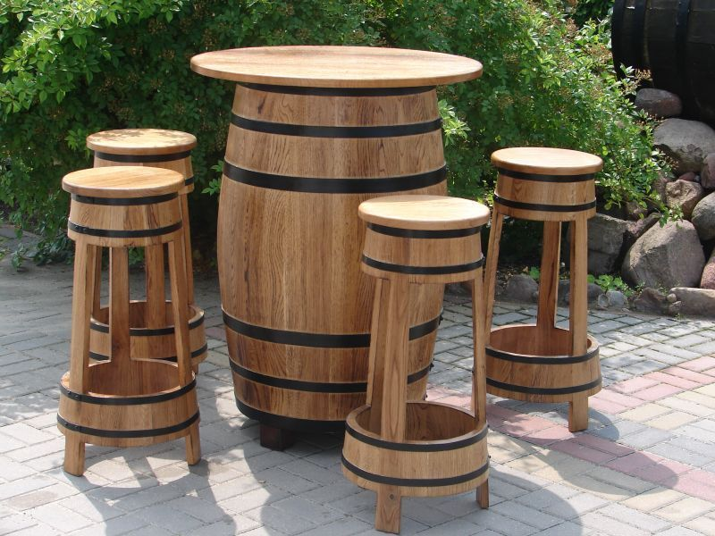 barm bel barhocker stehtisch gartenm bel weinfassbartisch fassform biergarten ebay. Black Bedroom Furniture Sets. Home Design Ideas