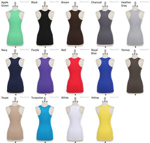 Basic-Solid-Sleeveless-Sports-Cotton-Pain-Tank-Top-Racer-Back-S-M-L