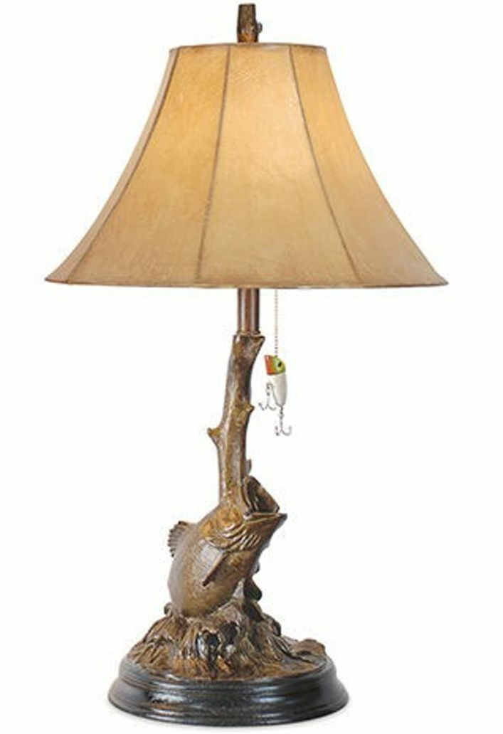 bass fish table lamp fishing lure bronze finish light