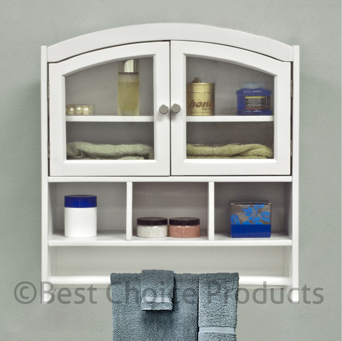 Bathroom cabinet white arch top bath wall mount storage - Wall mounted bathroom storage units ...
