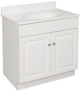bathroom vanity cabinet white 30 inches wide x 18 inches deep new