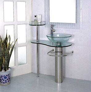 Bathroom Vanities Pedestal Vessel Sink Bowl 28 in Glass Modern ...