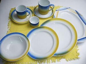 Bauscher-Weiden-Porzellan-blau-gelb-weiss-Serie-selbst-zusammenstellen