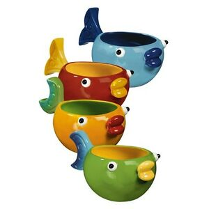 Beach Nautical Bright Primary Colored Ceramic Fun Fish Serving ...