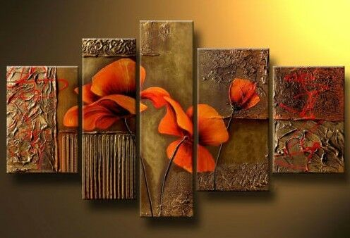 Beautiful 5PC MODERN ABSTRACT HUGE WALL ART OIL PAINTING ON CANVAS +FREE GIFT in Art, Direct from the Artist, Paintings | eBay