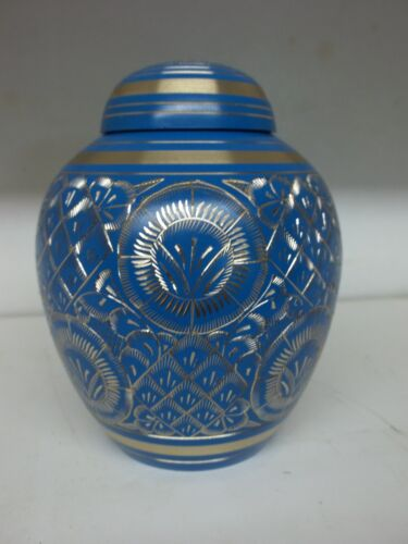 "Beautiful Blue & Gold Engraved Brass Dome Urn~Small 5.5""~~43 lbs. in Everything Else, Funeral & Cemetery, Cremation Urns 
