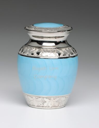Beautiful Extra Small Brass and Nickel Cremation Urn in Gorgeous Baby Blue Color in Everything Else, Funeral & Cemetery, Cremation Urns | eBay