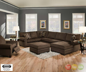 Beluga Deluxe Dark Brown U Shaped Sectional Sofa W Ottoman