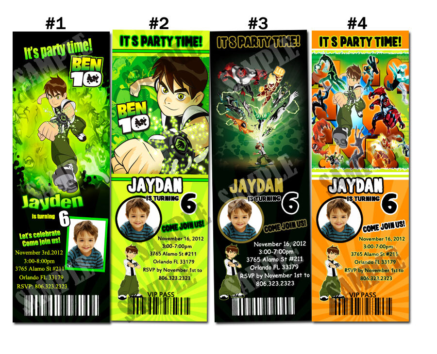 Details about Ben 10 Custom Birthday Party invitation ticket