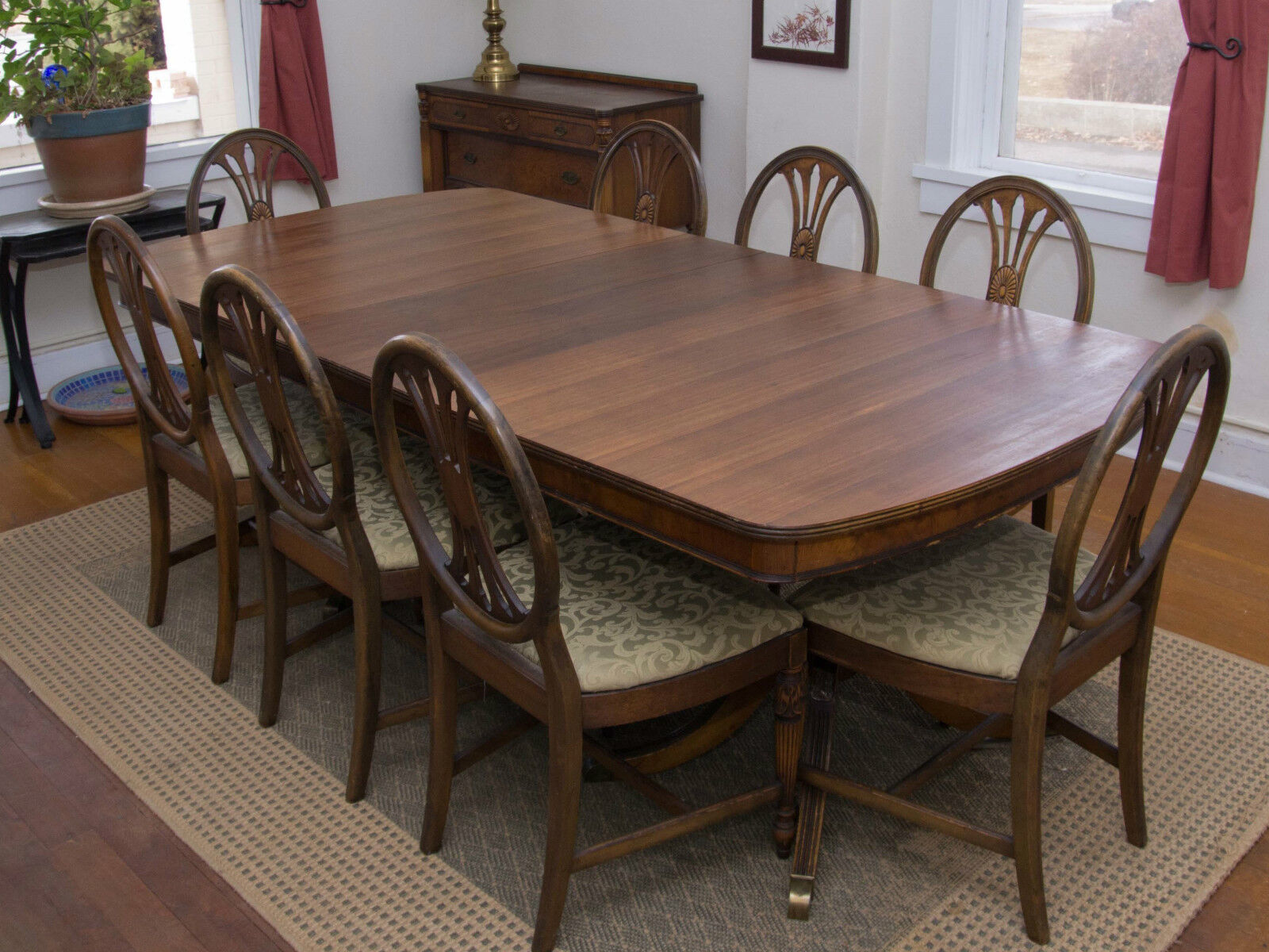 Berkey & Gay Antique Furniture Dining Set Table/Chairs, Hutch, Buffet, ...