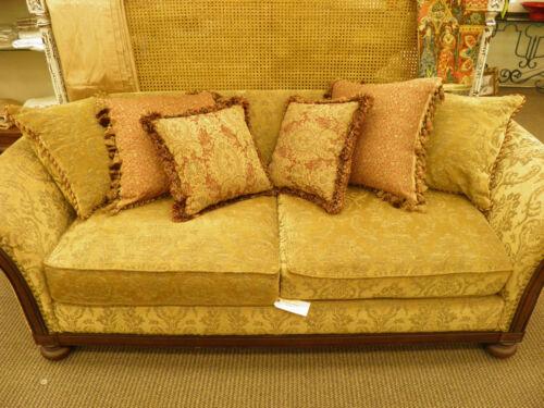 Bernhardt Gold Chenille Sofa With Pillows In Home Amp Garden