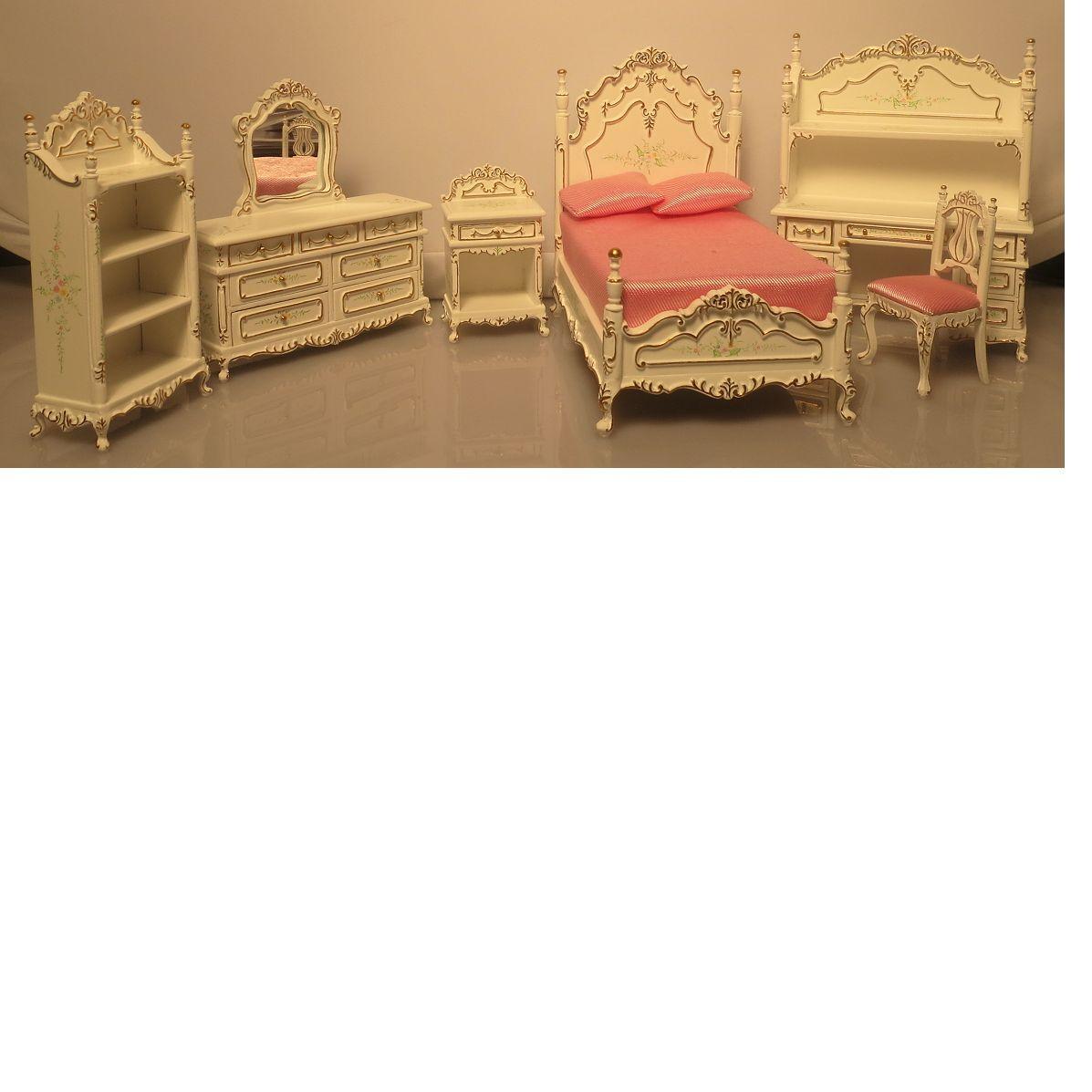 Bespaq Dollhouse Miniature Youth Kid Girl's Bedroom Furniture Set Bed Desk New